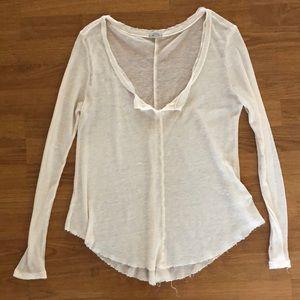 Ecoté Cream Long-sleeved Mesh Shirt